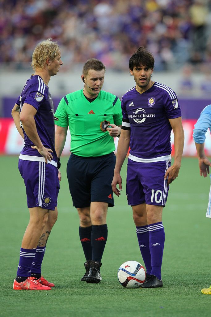 Kaka #10 of Orlando City SC lines up a free kick during an MLS soccer match between the New York City FC and the Orlando City SC at the Orlando Citrus Bowl on March 8, 2015 in Orlando, Florida.