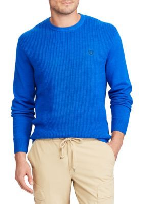 Chaps Men's Pique Stitch Crew Neck Sweater - Bright Imperial Blue - 2Xl