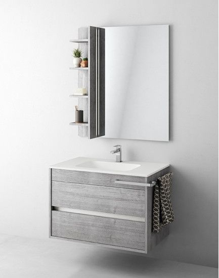 #Duetto by #Mastella | Monoblock with #washbasin and drawer dividers.    #Monoblock W 85 cm D 51 cm with 2 drawers and internal divider included.   Grafite Line Gray finish, Vinci integrated basin in white Mak Mat, Brio 50 corner towel rail.  #Mirror with Flyn Led.    Access special prices for architects and interior designers > design2taste.com    #bathroom #bathroomfurniture #furniture #modern #contemporary