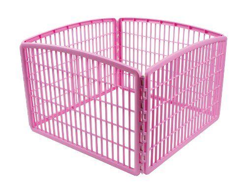 IRIS Plastic Exercise/Containment Pet Pen, 4 Panels, Pink - http://www.thepuppy.org/iris-plastic-exercisecontainment-pet-pen-4-panels-pink/