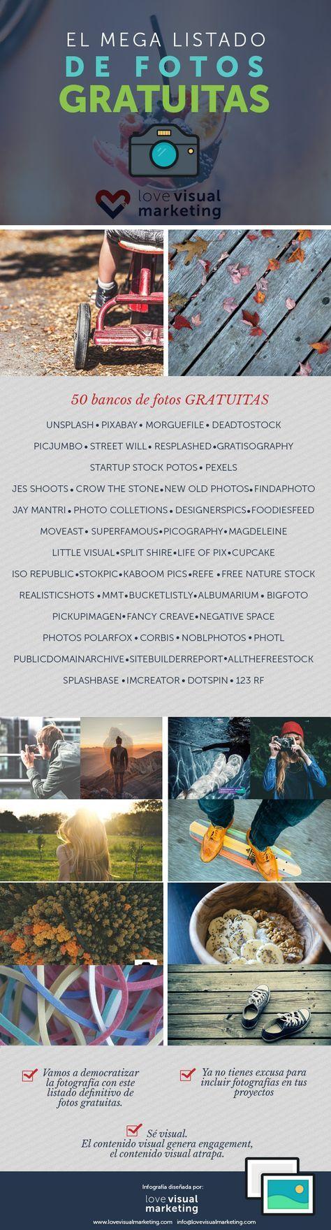 El mega listado de 50 bancos de fotos gratuitas para tus proyectos online.  Encontrarás imágenes espectaculares, originales y nada artificiales. Y lo mejor que la gran mayoría son libres de uso. Entra al post y mira lo que tengo para ti.