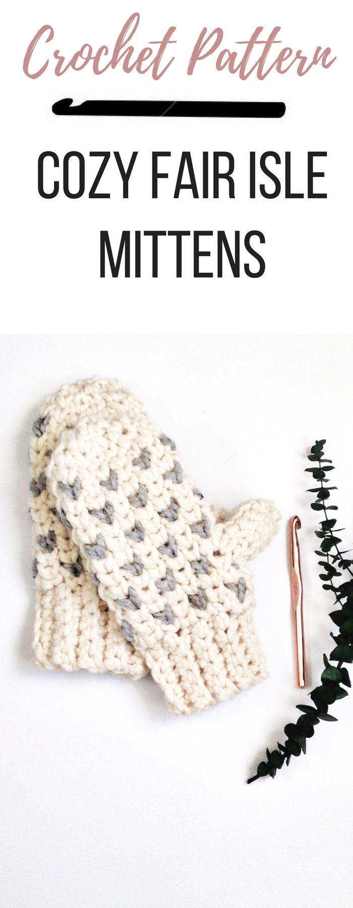 A quick crochet mittens pattern that uses the fair isle crochet technique. Kids and adult mittens make great crochet gifts when you make the matching hat.