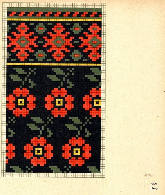 Knitted Mittens Graph of Nica, Kurzeme province, Latvia