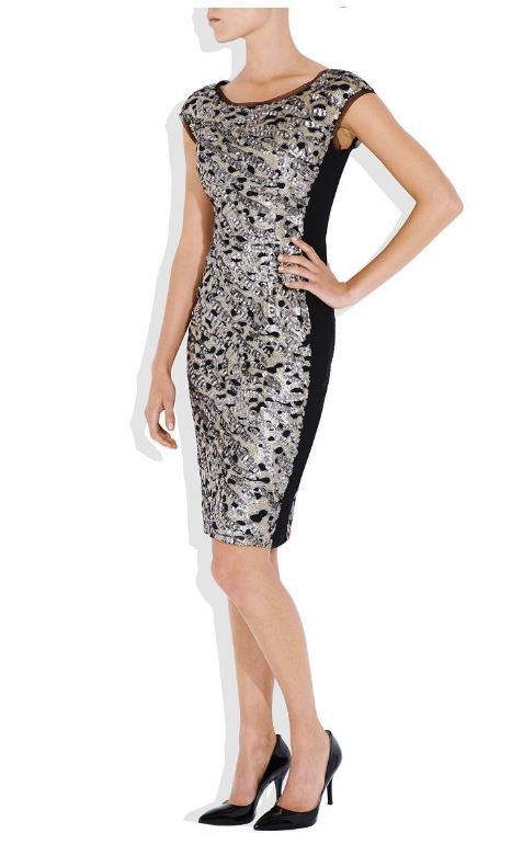 Glamour sequin panel shift dress with round neck and cap sleeve. #evening #formal #dress #cocktail #party #fashion