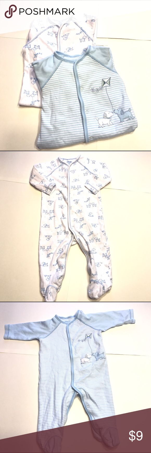 2 Pair 6m Boys PJs 2 pair Little Me pajamas blue and white so soft and great quality! Little Me Pajamas