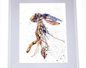 In the Air is a water colour painting of a Hare on White background