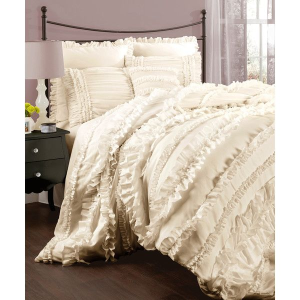 Lush Décor Ivory Margaret Comforter Set ($140) ❤ liked on Polyvore featuring home, bed & bath, bedding, comforters, cream comforter set, cream bedding, off white comforter, ivory bedding and cream colored comforter