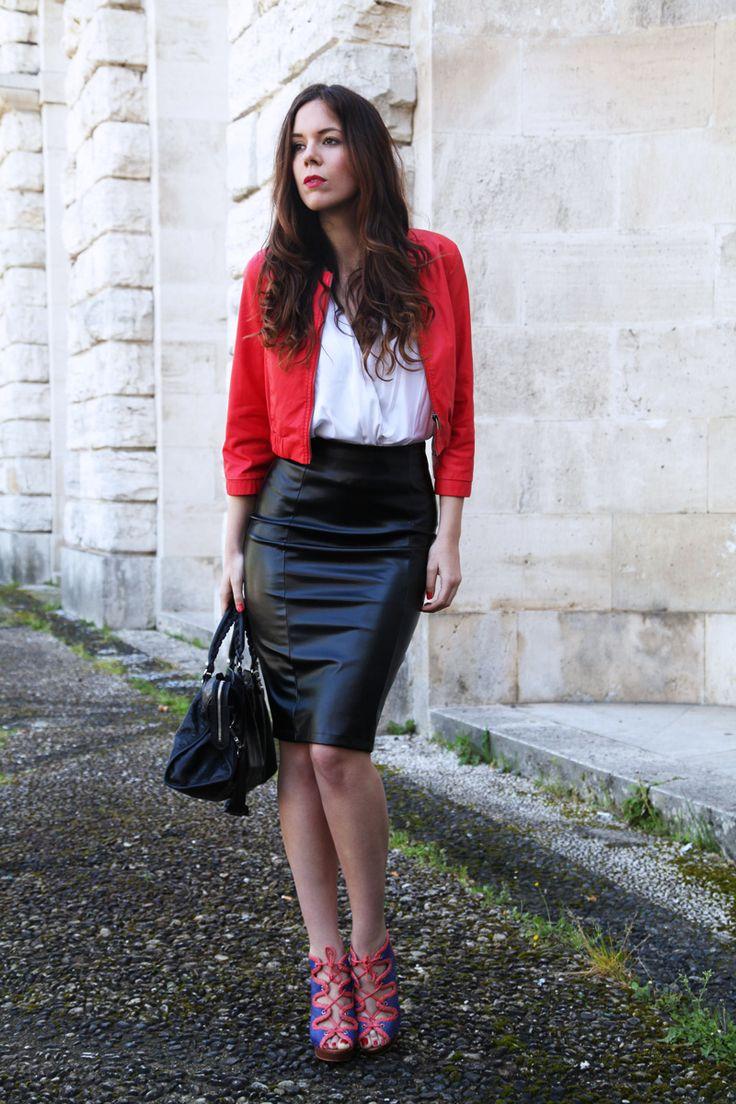 black longuette skirt leather jacket white shirt