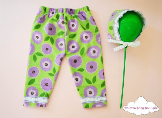 Baby Set Green Pants Purple Flowers Cotton by DoloresBabyBoutique