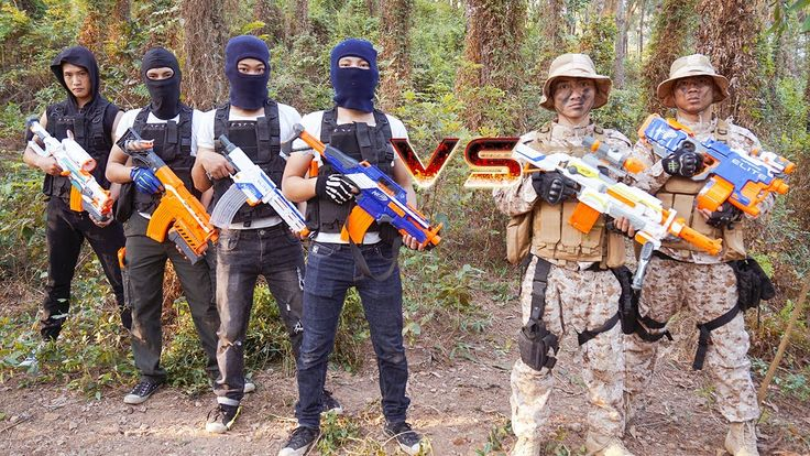 Nerf War Action Movies Marines Special Forces Nerf Guns Smugglers CrossF...
