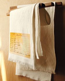 Old recipe on kitchen towel...scan, print, press...really interesting