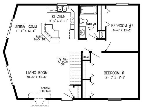 Prow front homes modular cedar ridge modular home floor for Cedar cabin floor plans