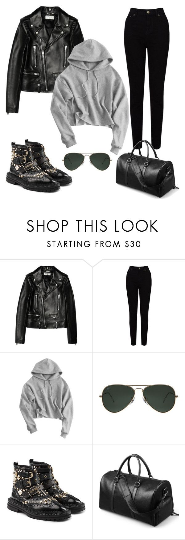 """Soft leather outfit"" by eda-kunics on Polyvore featuring Yves Saint Laurent, EAST, Ray-Ban and Burberry"