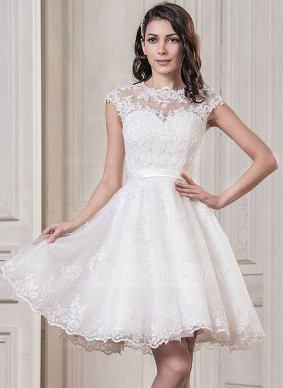 A-Line/Princess Scoop Neck Knee-Length Appliques Lace Zipper Up Cap Straps Sleeveless Beach Hall Reception General Plus No Spring Summer Fall Ivory Tulle Wedding Dress