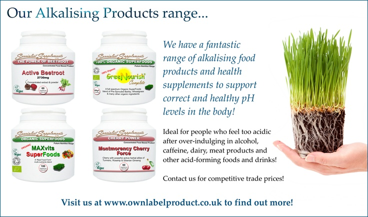 Alkalising foods and health supplements at competitive trade prices! Montmorency cherry capsules, active beetroot capsules, organic wheatgrass powder and much more! Own label / own brand and dropshipping options available!