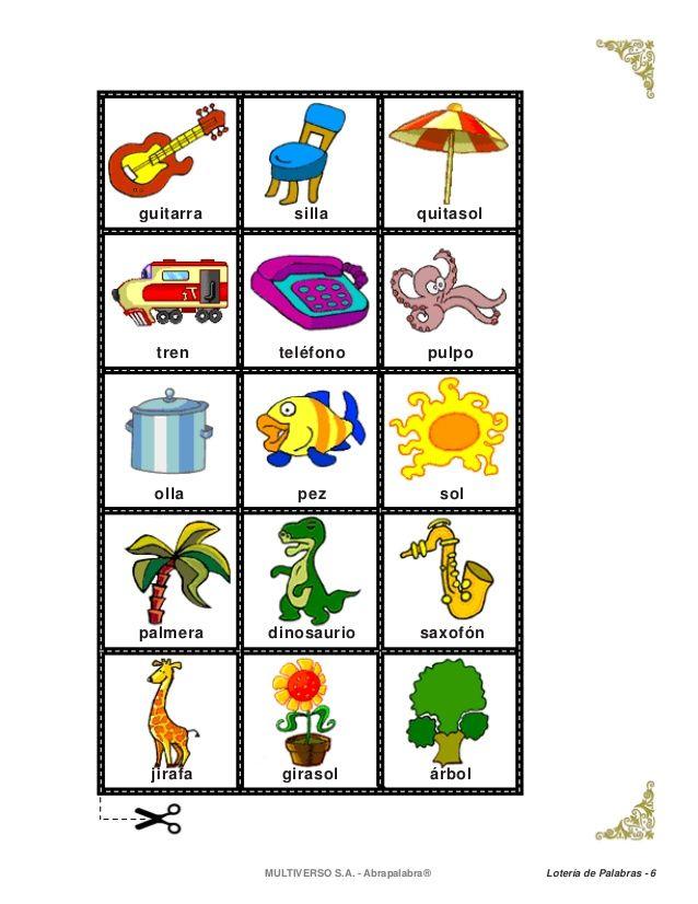 Resultado de imagen para loteria de palabras para niños de primero