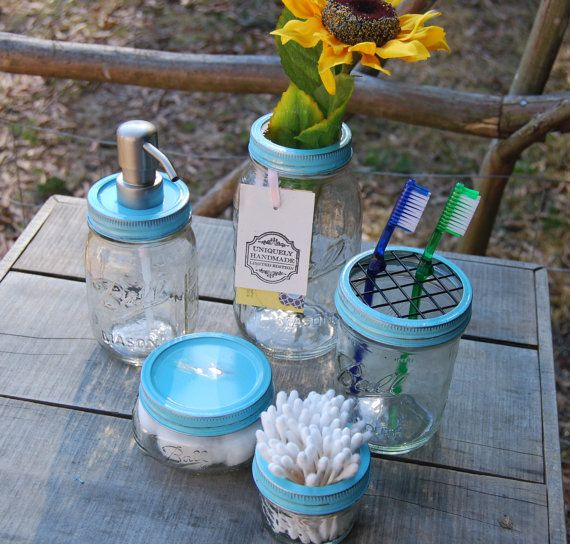 Mason jar bath set http://www.etsy.com/listing/119784006/mason-jar-soap-dispenser-bath-set