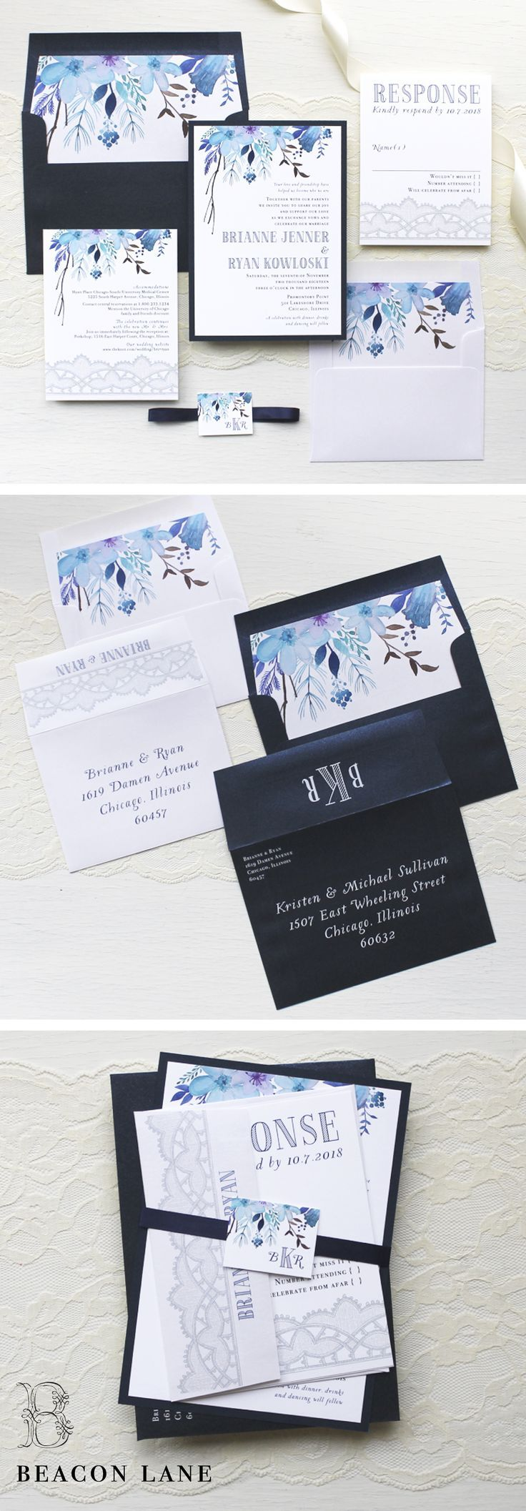 Indigo Blue Floral Watercolor Wedding Invitations with modern shades of navy blue, white, and silver lace. Complete the look with custom monogram, matching envelope liners and guest addressing in white ink. Oh so chic!