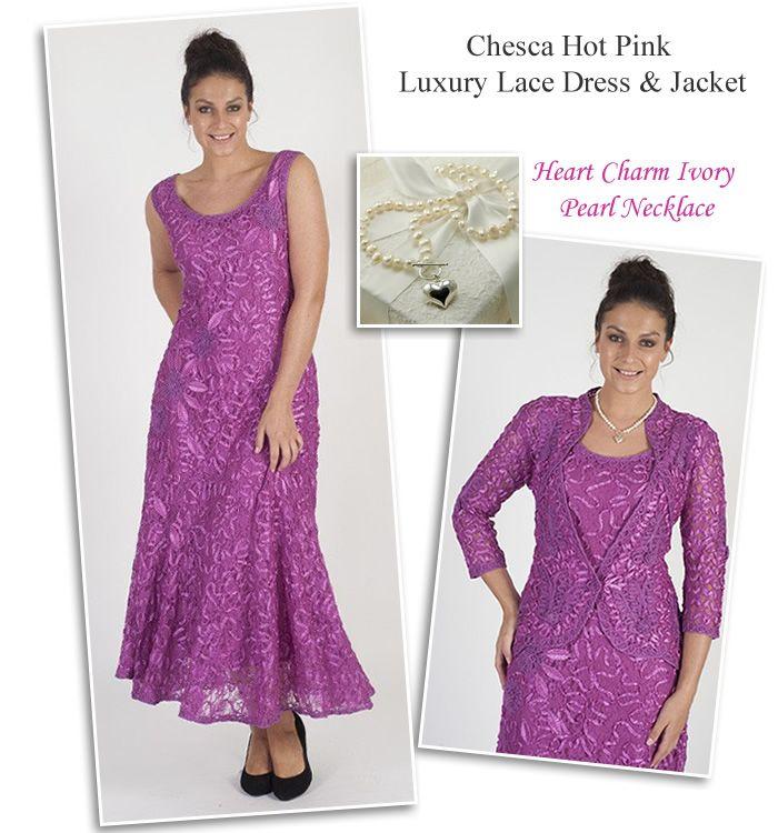 Chesca Deep Pink Lace Dress Matching Jacket