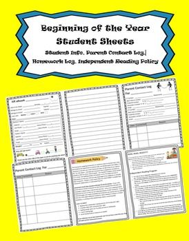 Classroom forms for those first couple days of school!  Included with this zip file download are the following:- A word version of my welcome/Supply Letter so that you have the format but can personalize it.Both a word (editable)  and PDF version of the following:-A Student information sheet -Parent Contact sheet (with the phone numbers and best times to call conveniently located at the top of the log sheet)  I send these home with  the student information pages so the parents can fill these…