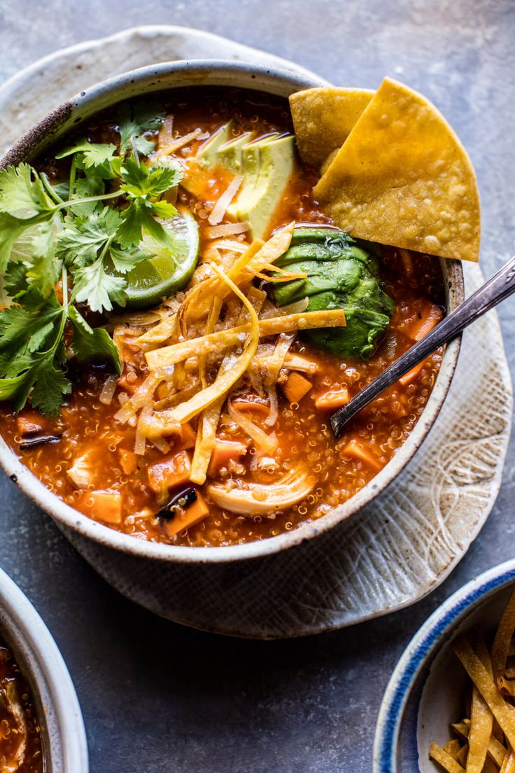 Turkey Enchilada Quinoa Soup | halfbakedharvest.com @hbharvest