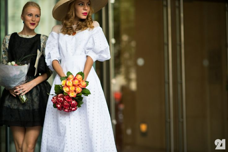 Two women before Haute Couture show // this would actually be a perfect wedding gown/bridesmaid gown combo imo