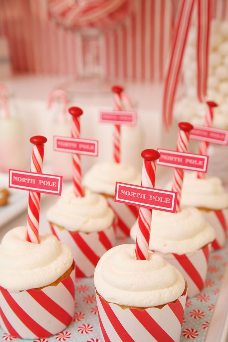 """dress up vanilla cupcakes with peppermint stick """"poles"""""""