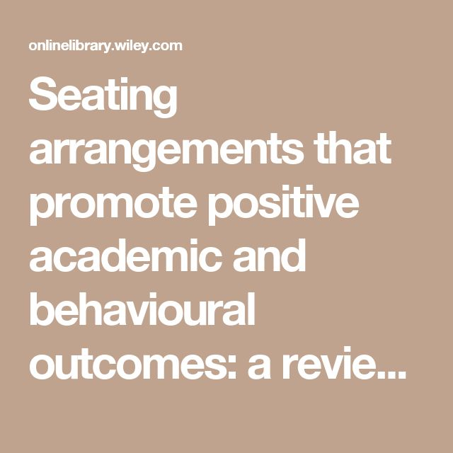 Seating arrangements that promote positive academic and behavioural outcomes: a review of empirical research - WANNARKA - 2008 - Support for Learning - Wiley Online Library