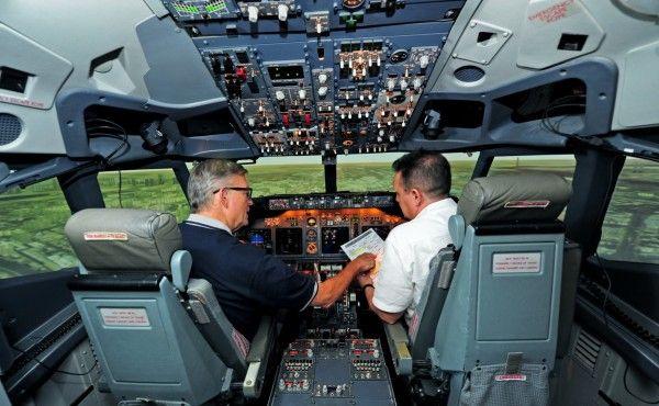 training inside a full flight simulator