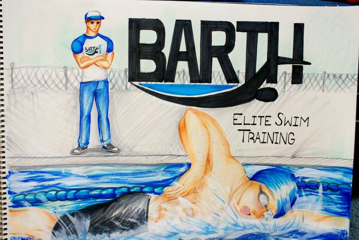 """Recent commission from Bob Barth, Bob Barth Elite Swim Training, LLC. This thing was huge, like 24"""" x 18"""" big. This was also the first time I ever attempted to create water with my Copic markers, so that was new too. All in all, this thing was a huge learning process, and overall I am happy with the way it turned out.  Done in Copics."""