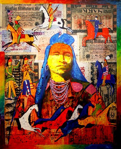 native american artists | Native American Paintings by Stan Natchez - Turquoise Tortoise Art ...