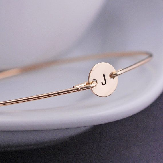 Personalized Bracelets, Simple Gold Bangle Bracelet, Initial Bracelet, Gift for Friends. $36.00, via Etsy.