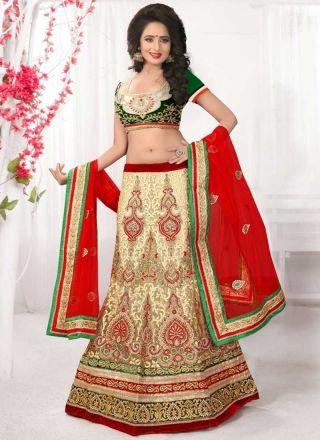 Red Green Beige Embroidery Work Net Velvet Fancy Designer Wedding Lehenga Choli http://www.angelnx.com/Lehenga-Choli/Designer-Lehenga-Choli