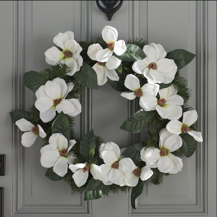 """Spring 24"""" North Valley Spruce Magnolia Wreath"""
