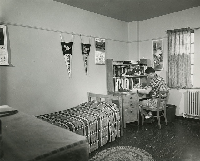 Why here's my boyfriend in HIS dorm room! Male Student in Friley Dorm Room, 1964.  #DreamDormRoom #GarnetHill #LillyPulitzer