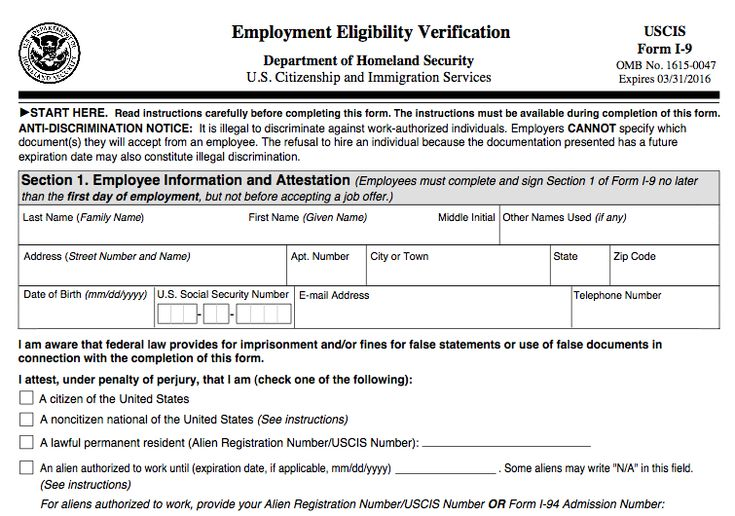 form i-9 employee verification for USA Employment Employ - sample employment authorization form