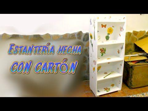Tutorial mueble estantería hecha de cartón, manualidades baratas con reciclaje | Manualidades