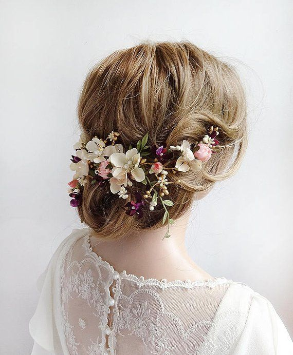 Floral Bridal Hair Piece Hair Pieces For Wedding Floral Headpiece Wedding Brid Bridal Floral Headpiece Rose Gold Wedding Headpiece Bridal Hair Pieces Flower