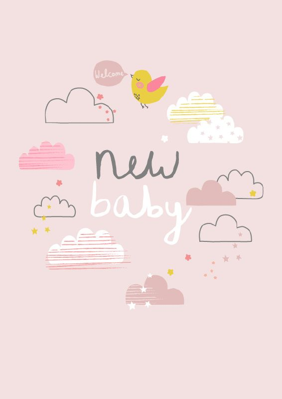 Aless Baylis 'Kaart New Baby Roze'