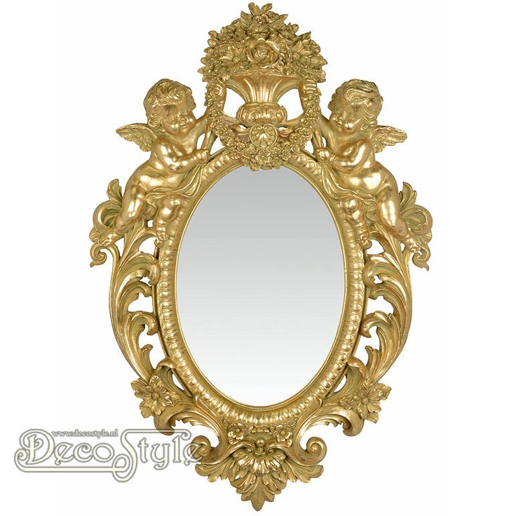 Barok Spiegel Angels Goud  Klassiek rijk versierde Barok spiegel. Met aan de bovenzijde twee engelen die een bloemenvaas vast   houden.  Kleur: Antiek Goud  Materiaal: Polystone  Afmetingen: Hoogte : 73.3 cm Breedte: 49.2 cm Diepte: 8 cm  RESIN WALL MIRROR FLANKED BY TWO PUTTI