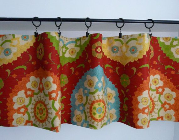 Red Flat Valance, Orange, Blue Curtain For The Kitchen, Southwest Green,  Turquoise