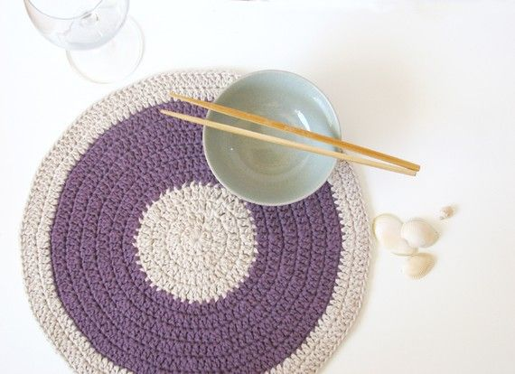 Purple Hemp placemat  ecofriendly  Mauve Lilac by theYarnKitchen, $39.00-Sweet!