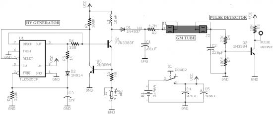 Figure 8 Front-end circuit of a diy Geiger Counter kit