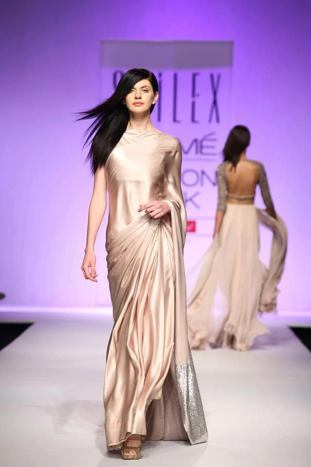 A satin sari by designer Sailex