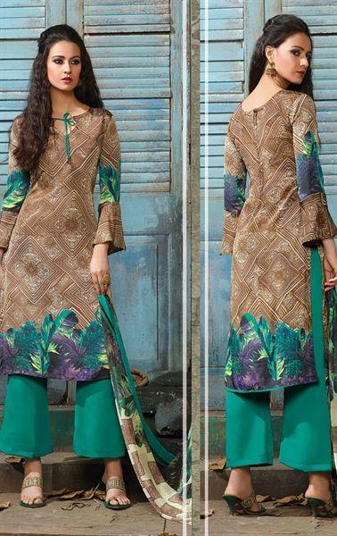 Divine Brown Casual Salwar Kameez