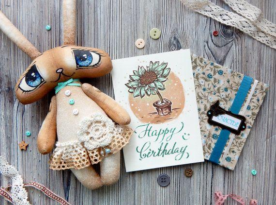 Big eyed bunny toy + birthday card, Easter Bunny, Soft Toy Rabbit, Rag Bunny, Stuffed Rabbit Animal Toy Bunny