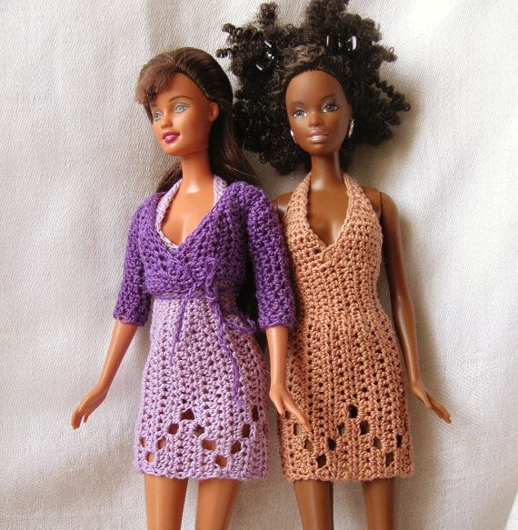 Barbie Crochet Dress Patterns | Barbie doll crochet pattern halter dress and by honeybeejewelry