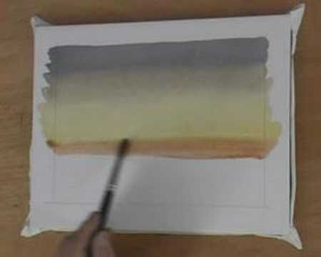 This watercolor tutorial covers painting a basic watercolor sky in a number of colors that gradually fade into each other (called a variegated wash)