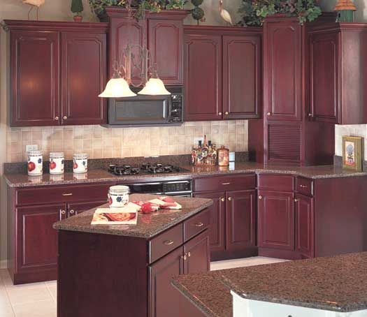starmark cabinetry harmony door style in cherry finished in burgundy kitchens red. Black Bedroom Furniture Sets. Home Design Ideas