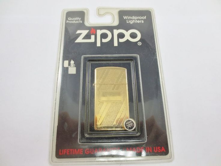ZIPPO USA Cigarette Lighter New Old Stock w Case #3400 BP SLIM GOLD PLATE SWIRL